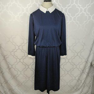 Vintage Ms Lea Casuals Blue Polka Dot Dress